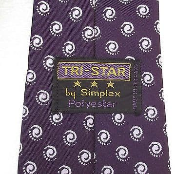 Vintage purple tie with spots Tri-Star Simplex polyester Spiral polka dots 1960s